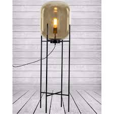 Edison Light Stand Large Gold Glass Edison Lamp On Black Floor Stand House Of