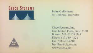 Brians Old Business Card From His Employment Wcisco Systems Inc