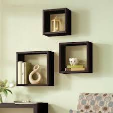 Floating Wall Cube Box Shelf Shelves Light Oak Dark Walnut Set of 3 Modern