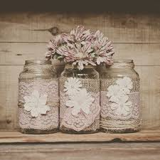 Decorated Jars For Weddings burlap wedding Mason jar centerpieces Pastel pink lace table 81