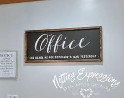 rustic office decor. office sign 12x30 framed wood signdeadline for complaintsoffice signwooden rustic decor d