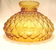 amber glass lamp shade vintage diamond quilt large 9 75 fitter base x 7 5 high