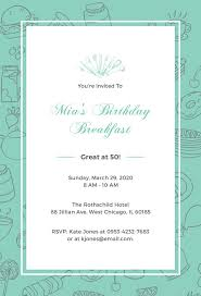 birthday breakfast invitation template