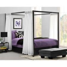 Metal Canopy Bed Frame Queen Size W/ HeadBoard Platform Modern Bedroom  Gunmetal