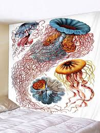 jellyfish print tapestry wall art multicolor w59 inch l51 inch