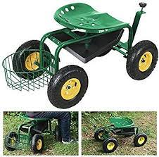 300lbs garden cart rolling work seat