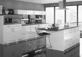 gorgeous two tone modern kitchen design with white and grey kitchens cabinetry set as well as wide glass windows also large kitchen island storage ideas