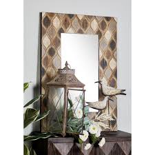 decorative bathroom mirror rectangle. Rectangular Distressed Gray And Brown Decorative Wall Mirror With Geometric Bathroom Rectangle