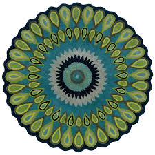 small round bathroom rugs decorative blue and green peacock pattern circle half bath mats