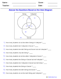 Math Venn Diagram Worksheet 10 Venn Diagram Worksheets Word Problems Using Three Sets Math
