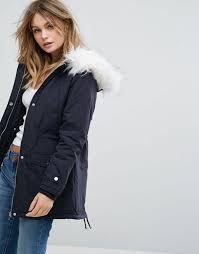 new look faux fur hood parka coat women navy coats