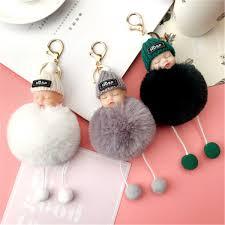 2019 Pompom Sleeping Baby Key Chain <b>Faux Rabbit</b> Fur <b>Sweet</b> ...