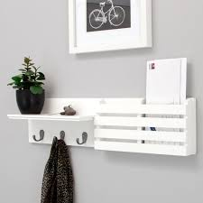 white color modern wood wall mail organizer and key holder plus flower stand ideas