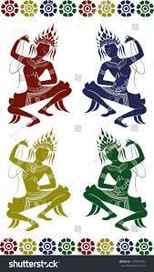 Apsara Design Set Apsara Dance Stock Vector Royalty Free 117047746