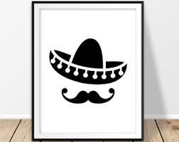 new mexico home decor: sombrero hat print mexico digital print mexican hat mustache cinco de mayo el sombrero mexican home decor new mexico cancun wall art poster
