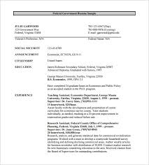 Federal Government Resume Template Download