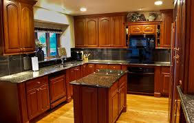 Natural Cherry Cabinets Brown Varnished Wood Range Hood Natural Cherry Kitchen Cabinets