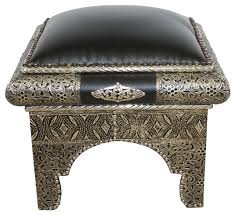 square moroccan metal and black leather ottoman mediterranean footstools and ottomans by badia design inc