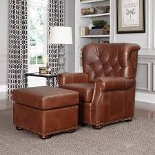 Living Room Arm Chairs Home Styles Miles Saddle Brown Faux Leather Arm Chair With Ottoman