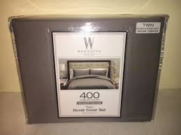 wamsutta twin duvet cover set grey 400 thread count sateen weave 2 piece