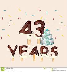 Happy Birthday Business Card 43 Years Happy Birthday Card Stock Vector Illustration Of