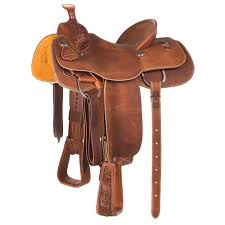 1 3 breed chestnut acorn with a pencil roll team roping saddle loading image