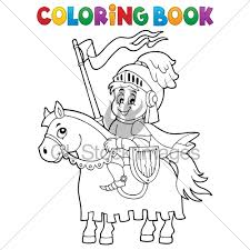 coloring book knight on horse theme 1 eps10 v