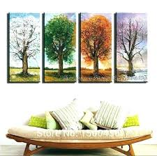 4 piece wall art set canvas hand painted season tree oil floral sets navy blue print wall art sets  on canvas wall art sets of 4 with 3 piece canvas wall art set floral murals ideas display sets evendate