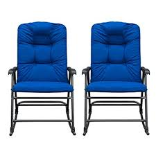 blue rocking chair. SunLife Outdoor Foldable Modern Rocking Chair Set, Patio/Backyard / Camping Lounge Rockers With Blue O
