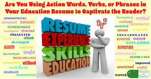 Action Words For Resume Simple Using Action Words Verbs Or Phrases In Your Education Resume
