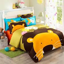 orange brown blue and yellow cartoon lion king print jungle safari animal girls and boys 100 cotton twin full size bedding sets