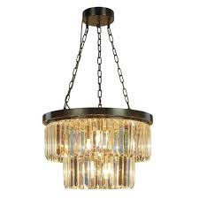 antique bronze and crystal chandelier pendant light