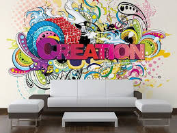 Modern Living Room with Creation Wall Mural