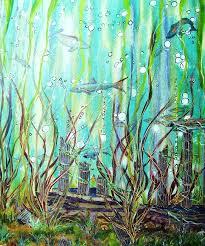 underwater painting underwater ruins real drip oil by larry doyle