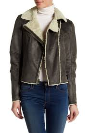 lucky brandfaux shearling trim faux suede moto jacket
