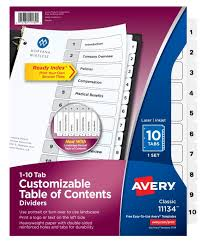 Office Depot Divider Templates Avery Ready Index 20 Recycled Table Of Contents Dividers 1 10 Tabs Black White