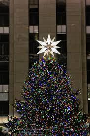 Rockefeller Center Christmas tree and ornaments including the Swarovski  Crystal star New York city on December.