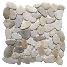 white shell 12 in x 12 in sliced natural pebble stone floor and wall
