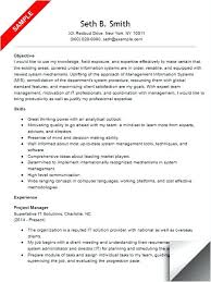 Project Management Objective Resumes Resume Templates Manager
