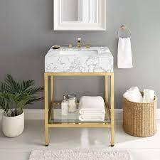 Kingsley 26 Gold Stainless Steel Bathroom Vanity Contemporary Modern Furniture Modway