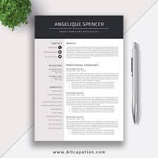 Simple Resume Template Modern Curriculum Vitae Template Cv Design Best Professional Resume Instant Download Angelique