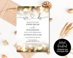 Wedding Invitation Templates Downloads Gold Wedding Invitation Printable Wedding Template Download Editable Wedding Invitations Pdf Wedding Invitations We Do Gold Hearts
