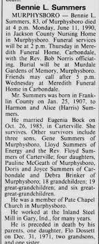 Obituary for Bennie L Summers, 1907-1990 (Aged 83) - Newspapers.com