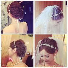 挙式 ウェディングヘア リボンカチューシャ 花嫁 編み込み Brides Hair