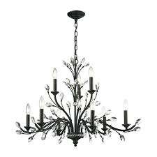 crystal branch chandelier elk lighting crystal branches burnt bronze nine light chandelier swarovski crystal branch chandelier