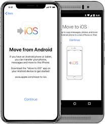 screens showing the move to ios app on iphone and android