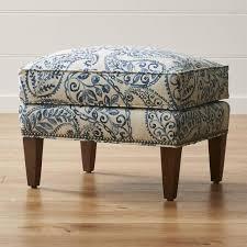 Blue and White Paisley Ottoman