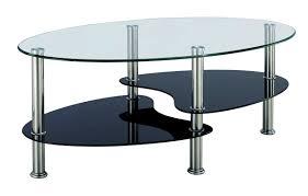 Deco In Paris 0_table Basse Noir Et Blanc En Verre Trempe Ovale Table Basse Table Basse Noir Et Blanc En Verre Trempe Ovale Op