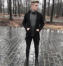 winter chunky sweater with peacoat all black outfits mens