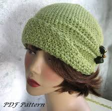 Crochet Chemo Hat Pattern Fascinating Crochet Pattern Womens Flapper Hat EPattern With Double Flower Trim
